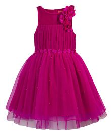 Toy Balloon Pearl Embellished Tutu Party Dress - Hot Pink