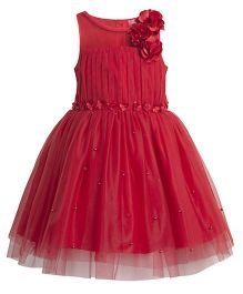 Toy Balloon Pearl Embellished Tutu Party Dress - Red
