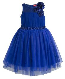 Toy Balloon Pearl Embellished Tutu Party Dress - Blue