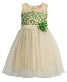 Toy Balloon Floral Embroidered Tutu Dress - Gold