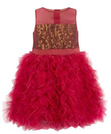 Toy Balloon Sequin With Frills Princess Dress - Coral
