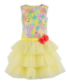 Toy Balloon Fruit Printed Layer Dress - Yellow