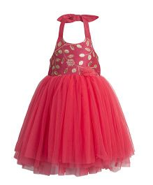 Toy Balloon Embroidered Tutu Party Dress - Peach