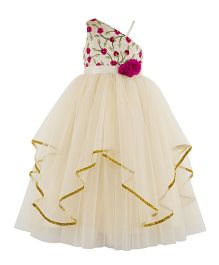 Toy Balloon One Shoulder Embroidered Gown - Pink