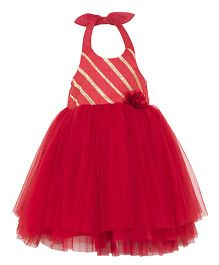 Toy Balloon Tutu Halter Party Dress - Red