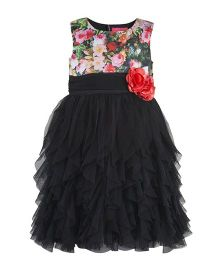 Toy Balloon Rose Printed Dress - Black