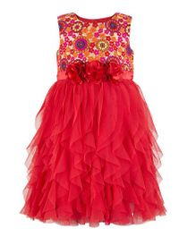 Toy Balloon Embroidered Waterfall Dress -  Red