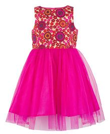 Toy Balloon Embroidered Waterfall Dress - Pink