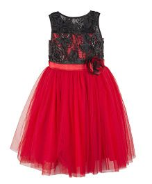 Toy Balloon Kids Red Flouncy Wth Black Lace Princess Dress - RED