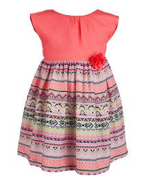 Toy Balloon Printed Back Knotted Dress - Neon Pink