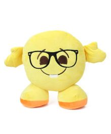My Baby Excels Standing Emoji Nerd Face Cushion Yellow - 30 cm