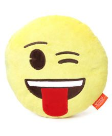My Baby Excels Emoji Face With Tounge Out Cushion Yellow - 30 cm