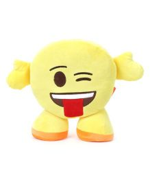 My Baby Excels Standing Emoji Face With Tounge Out CushionYellow - 30 cm