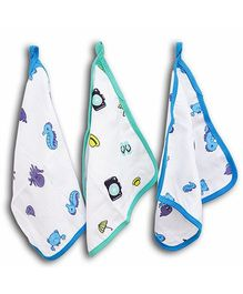 Wonder Wee Cotton Wash Cloth Large Size Printed - Blue