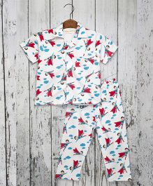 Acute Angle Man Night Suit For Boys - White