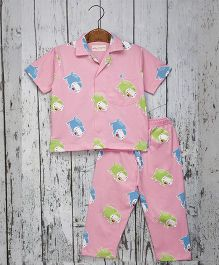 Acute Angle Hippo Night Suit For Boys - Pink