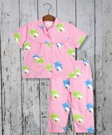 Acute Angle Hippo Night Suit For Girls - Pink