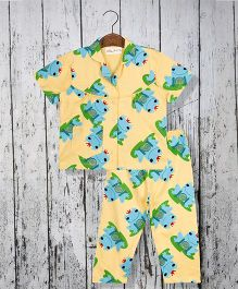 Acute Angle Froggie Night Suit For Girls - Yellow
