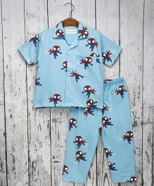 Acute Angle Spider Night Suit For Boys -  Blue