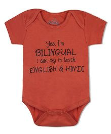 Acute Angle Yes I Am Binlingual I Can Cry In Both Hindi And English Organic Cotton Baby Onesie - Orange