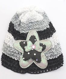 Tia Hair Accessories Star Design Winter Cap - Black & Grey