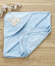 Pink Rabbit Hooded Towel Bunny Patch - Blue