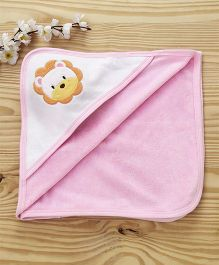 Pink Rabbit Hooded Towel Lion Patch - Pink
