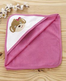 Pink Rabbit Hooded Towel Puppy Patch - Pink