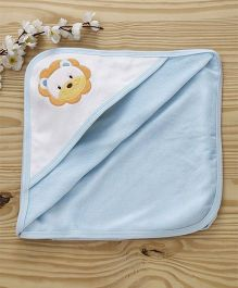 Pink Rabbit Hooded Towel Lion Patch - Blue