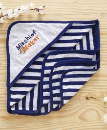 Pink Rabbit Striped Hooded Towel Broad Stripes - Navy