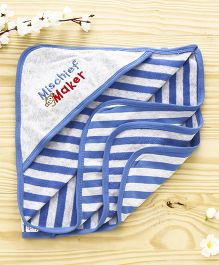 Pink Rabbit Striped Hooded Towel Broad Stripes - Royal Blue