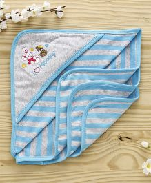 Pink Rabbit Striped Hooded Towel Bunny Design - Blue