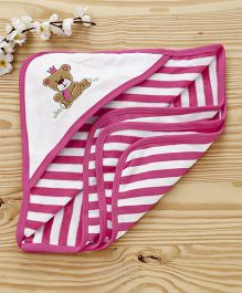 Pink Rabbit Striped Hooded Towel Bear Patch - Dark Pink