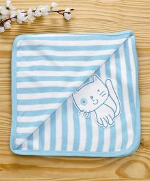 Pink Rabbit Striped Towel Kitty Design - Blue