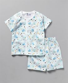 Pink Rabbit Half Sleeves Vest And Shorts Duck Print - Aqua Blue