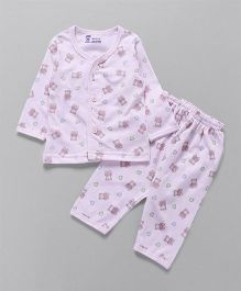 Pink Rabbit Full Sleeves Night Suit Set Bear Print - Pink
