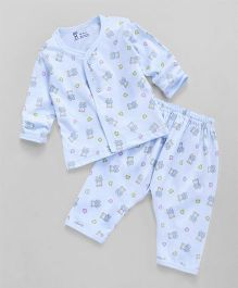 Pink Rabbit Full Sleeves Night Suit Set Bear Print - Light Blue