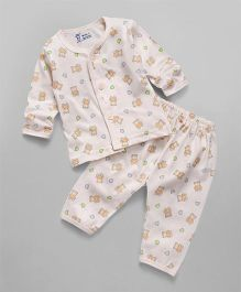 Pink Rabbit Full Sleeves Night Suit Set Bear Print - Light Peach