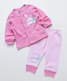 Pink Rabbit Full Sleeves Night Suit Rabbit Print - Pink