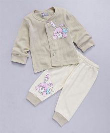 Pink Rabbit Full Sleeves Night Suit Rabbit Print - Beige