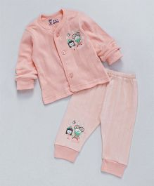 Pink Rabbit Full Sleeves Night Suit Printed - Peach