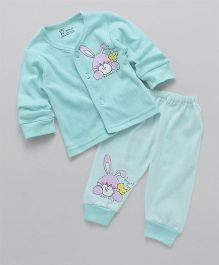 Pink Rabbit Full Sleeves Night Suit Rabbit Print - Aqua Blue