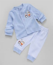 Pink Rabbit Full Sleeves Night Suit Printed - Sky Blue