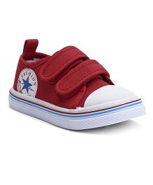 Cute Walk by Babyhug Canvas Shoes - Red White