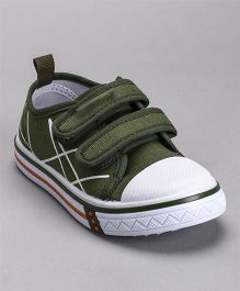 Cute Walk by Babyhug Canvas Shoes - Olive Green White