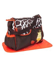 Diaper Bag With Changing Mat Giraffe Patch - Brown & Green