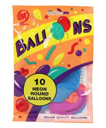 BK Balloons Neon Round Shape Balloons Pack of 10 - Multi Colour