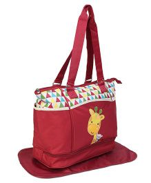 Diaper Bag With Changing Mat Giraffe Print - Red
