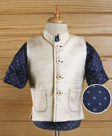 Babyhug Full Sleeves Party Wear Shirt & Jacket With Two Pockets  - Navy Cream