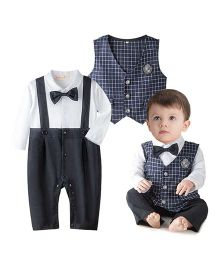 Petite Kids Checkered 2 Piece Party Wear Romper Set - Blue